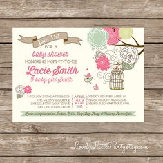 I LOVE THIS ONE TOO! Printable Vintage Birdie Baby Shower Invitation - Lovely Little Party on Etsy, $12.50