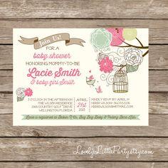 Baby Shower Invitation Bird houses Baby Shower Invitation Boy
