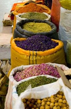 """Herbal teas, which tea experts term Tisanes (a French word for """"herbal infusion""""), are usually dried flowers, fruits or herbs which are then steeped in boiling water Spice Shop, Yerba Mate, Spices And Herbs, Farmers Market, Street Food, Spice Things Up, Korn, Herbalism, Seeds"""