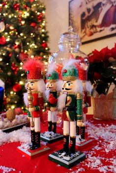 Nutcrackers decorating a Christmas party! See more party ideas at CatchMyParty.com. #nutcracker #christmas #partyideas