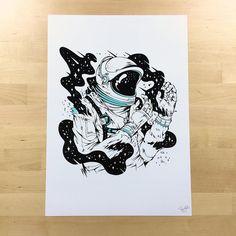 Astronauta Tatuagem; Astronaut Tattoo; Desenho; Designer