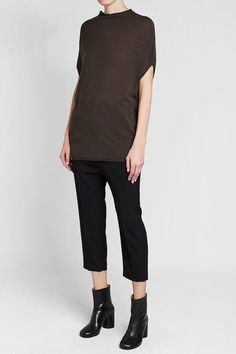 RICK OWENS - Virgin Wool Knit Top | STYLEBOP Grey Fashion, Rick Owens, Capri Pants, Grey Style, Normcore, Wool, Knitting, Shopping, Clothing