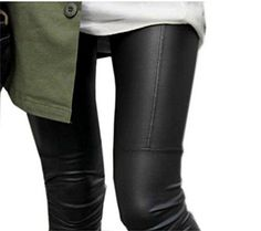 Chisen Ladies Faux Leather Slim Footless Leggings Pants (XL, Black