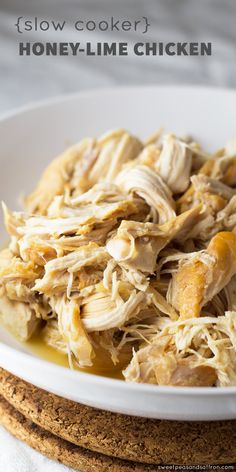 Slow Cooker Honey-Lime Chicken and three recipes to use it in! @sweetpeasaffron