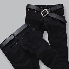Four Season Men s Jeans Slim Straight Pants Black (PS  9142) 83197e570dbd