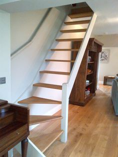Amazing Glass Staircase Ideas To Inspire You Small Space Staircase, House Staircase, Staircase Design, Staircase Ideas, Cottage Stairs, Tiny House Stairs, L Shaped Stairs, Traditional Staircase, Staircase Makeover