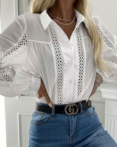 Basic Outfits, Cute Casual Outfits, Casual Shirts, Fashion Wear, Fashion Outfits, Elegant Outfit, Blouses For Women, Long Sleeve, Sleeves