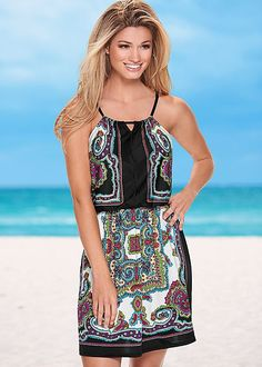 The printed dress that belongs in paradise! Venus printed mini dress.