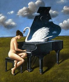 rafal olbinski Every note plucks another feather for the hissing douchebag