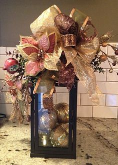 29 Inspiring Rustic Christmas Lantern Ideas for Your Porch Decoration : Page 2 of 27 : Creative Vision Design Pink Christmas Decorations, Christmas Flower Arrangements, Christmas Swags, Christmas Lanterns, Elegant Christmas, Noel Christmas, Christmas Centerpieces, Rustic Christmas, Christmas Bulbs