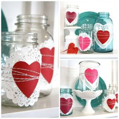 Use a paper doily, cutout heart, and twine to transform a few Mason jars into an elegant Valentine's Day display for a mantel or entryway.