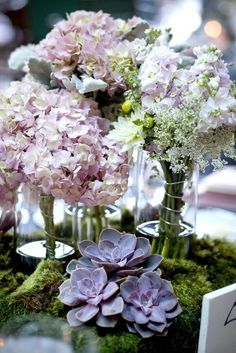 Featured Photographer Heather Decamp Chic Purple Flower Wedding Reception Centerpieces