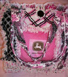 Deerecountry Quilts : Pink and black John Deere Rag Quilt bag / tote