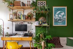 with green-painted walls and vintage furniture has wooden bookshelf . Home office with green-painted walls and vintage furniture has wooden bookshelf . Bohemian Latest And Stylish Home decor Design And Life Style Ideas Un bureau à la déco Urban Jungle Home Office Space, Home Office Design, Home Office Furniture, Home Office Decor, House Design, Home Decor, Office Ideas, Green Painted Walls, Green Walls