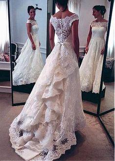 Buy discount Elegant Tulle & Satin Off-the-shoulder Neckline A-line Wedding Dresses With Lace Appliques at Dressilyme.com