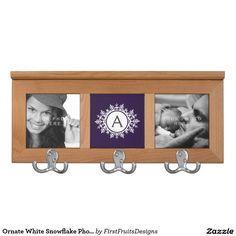 Ornate White Snowflake Photo & Monogram Purple Coat Rack