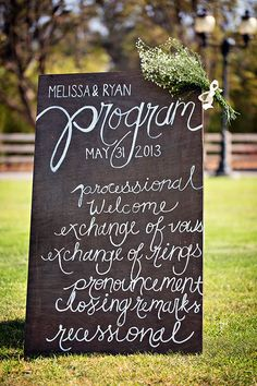 wedding ceremony program sign