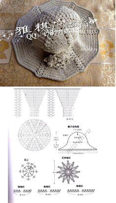 Chapeaux - Her Crochet Crochet Hood, Bonnet Crochet, Crochet Beanie, Knitted Hats, Knit Crochet, Crochet Diagram, Crochet Chart, Doily Patterns, Crochet Patterns