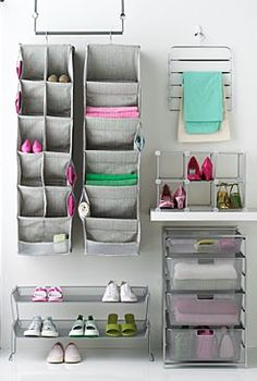 space savers. Hanging trays and layered trays to keep everything off of the floor. Clean & organized : )