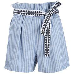 Lemlem 'Mara' Shorts ($195) ❤ liked on Polyvore featuring shorts, blue, blue shorts, lemlem, blue cotton shorts and cotton shorts