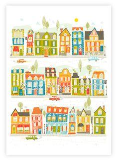 Happyland - A4 PRINT boy unisex illustration children's kids room nursery houses buildings street village lime orange blue green bright. $15.00, via Etsy.