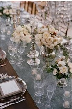 Silver and gray table setting...