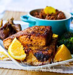 Sumac Ginger Tofu With Quinoa, Broccoli & Mushrooms | 41 Delicious Vegan Thanksgiving Recipes