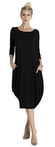 Tabeez Womens Casual 34 Sleeve and Long Sleeve Loose Bubble Jersey Shift Cocoon Midi Dress Made In The USABlackLarge * Visit the image link more details. (This is an affiliate link) Modest Dresses, Cheap Dresses, Casual Dresses, Women's Casual, Cocoon Dress, Dress Making, Halo, Bubble, Long Sleeve