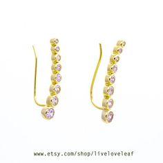 gold cz ear cuffs and jackets ear climbers ear by LiveLoveLeaf