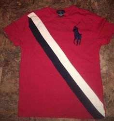 Polo Ralph Lauren Big Pony Banner Striped T Shirt Boys Small 8 Red/Navy/White #3 #PoloRalphLauren #Everyday