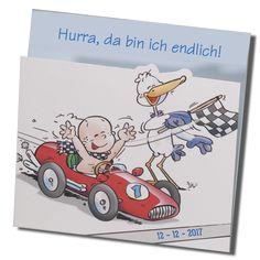 """Lustige Babykarten """"Rennauto"""" - Jetzt schnell ins Ziel zu Mama und Papa! Bestellen Sie nur bei uns - Wimmer Druck in Aachen- oder online bei top-kartenlieferant.de"""