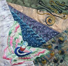 I ❤ crazy quilting & embroidery . . .  Art Nouveau back cover for the fabricbook. ~By Margreet from Holland