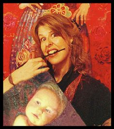 Ona holding her painting with a life-size Archibald (detail ) painting of her in background