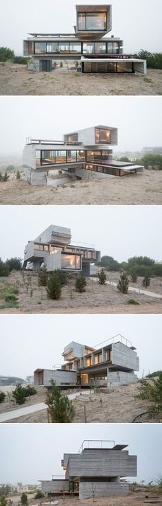 Container House - Architect Luciano Kruk designs a house made of three stacked forms of rough unfinished concrete overlooking a golf course in Argentina - Who Else Wants Simple Step-By-Step Plans To Design And Build A Container Home From Scratch? Architecture Design, Container Architecture, Amazing Architecture, Architecture Definition, Windows Architecture, Computer Architecture, Concrete Architecture, Amazing Buildings, Building Architecture