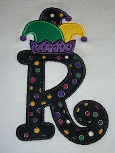 Letter applique Mardi Gras