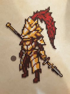 Check out this item in my Etsy shop https://www.etsy.com/listing/264752102/dark-souls-ornstein-perler-bead-sprite