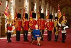 British Monarchy on Twitter: Queen Elizabeth with representatives of the Household Regiments and Kings Troops, June 12, 2015
