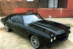70 chevelle triple black #BecauseSS matte stripes shaved doors painted bumpers 18 20 american racing wheels