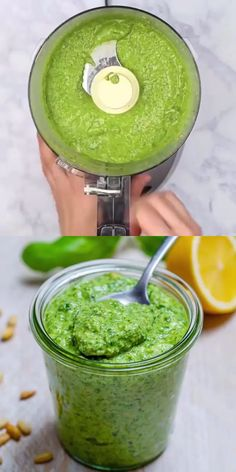 This Homemade Pesto Sauce is the perfect recipe to replace your store-bought pesto sauce. It is easy to make and so delicious you won't want to go back to any pre-made pesto sauce. Healthy Desayunos, Easy Healthy Recipes, Vegetarian Recipes, Cooking Recipes, Drink Recipes, Healthy Snacks, Healthy Pesto, Hot Sauce Recipes, Vegan Pesto