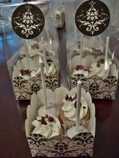 Mini cake pops and cupcakes...In Party favor packaging from Hobby Lobby