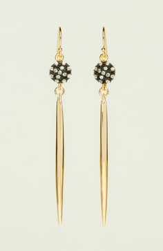 White Topaz Gold Spiked Earrings