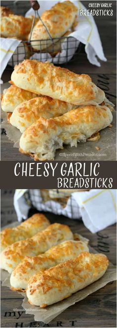 Cheesy Garlic Breadsticks! Making breadsticks at home is actually easier than you might think! If you don't want to make your own dough you can substitute frozen bread dough in this recipe!