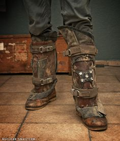 Post-Apo shinguards/gaiters by NuclearSnailStudios on deviantART