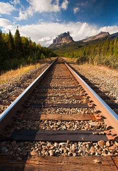 Railroad to Castle Mountain, Banff National Park, Alberta, Canada beautiful photo. Banff National Park, National Parks, Canada Travel, Canada Tourism, Train Tracks, That Way, The Great Outdoors, Wonders Of The World, Railroad Tracks