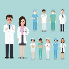 Doctores, cirujanos y enfermeros Vector Gratis. Fondo azul.
