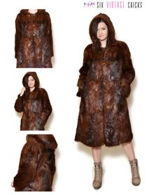 Fur Coat 80s Sexy Vintage Coat, Hooded Coat, Vintage Woman's Clothing Size M/38 Gift idea for her by SixVintageChicks on Etsy