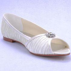 US 5-10 Pleated Silk flat ballet slip on bride wedding dress White womens shoes #Handmade #BalletFlats