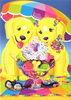 lisa frank  Any time there are 2 golden retriever puppies is an homage to Lisa's own personal pets. =^^=