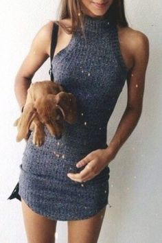 Stand Neck Fitted Sweater Dress #iadorefashionn