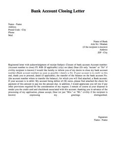 bank account closing letter template httpresumesdesigncombank